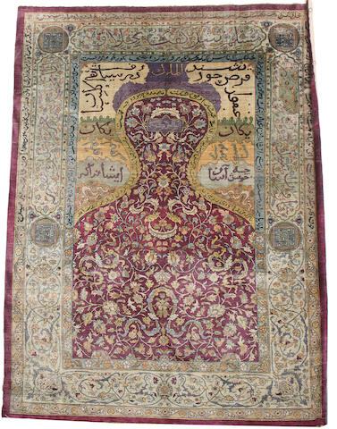 An Anatolian silk prayer rug West Anatolia, 5 ft 11 in x 4 ft 3 in (178 x 128 cm)some restoration