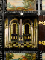 A Flemish 17th century ebony, ebonised and painted cabinet the fifteen painted panels: Flemish School, 17th century