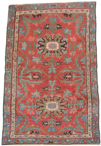 A Bidjar rug Persian Kurdistan, 6 ft 6 in x 3 ft 10 kin (198 x 117 cm) lacking outer guardstripes on all sides, side cords rebound, some minor wear at one end