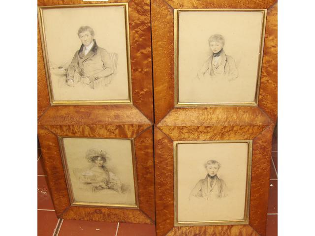 Stephen Catterson Smith (Irish, 1806-1872) Four portraits, of members of the Lumley-Smith family