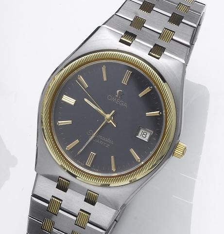 Omega. A stainless steel and gold centre seconds calendar bracelet watchSeamaster, 1980's