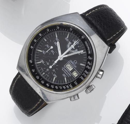 Omega. A stainless steel automatic chronograph calendar wristwatch  Speedmaster, 1980's