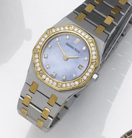 Audemars Piguet. A lady's stainless steel and gold, diamond set calendar bracelet watch Royal Oak, 1990's
