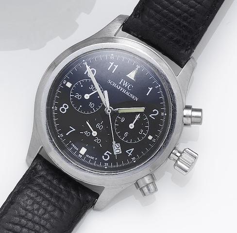 IWC. A stainless steel chronograph calendar wristwatchRecent