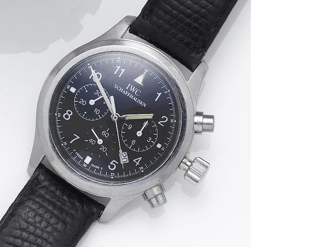 IWC. A stainless steel chronograph calendar wristwatch Recent
