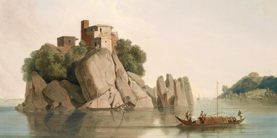 Thomas Daniell, R.A. (British, 1749-1840) Carved rocks at Sultaungunge, Bihar
