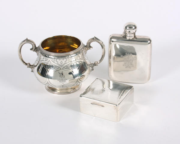 A Victorian silver twin handled sugar bowl By Messrs. Barnard, London, 1872,  (3)