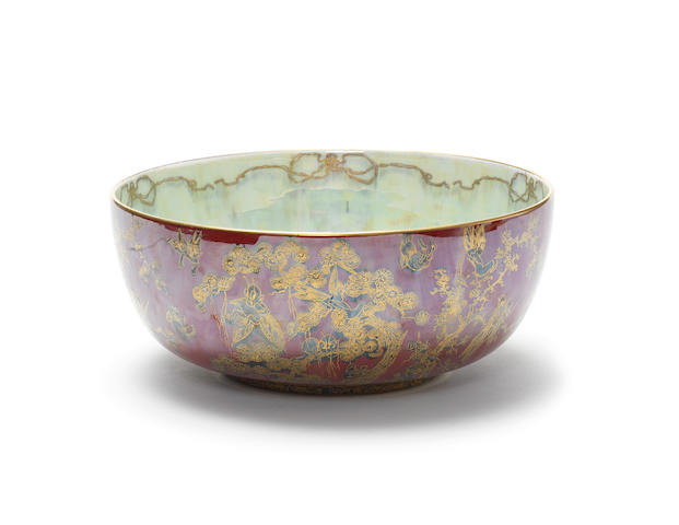 Daisy Makeig-Jones for Wedgwood 'Firblogs/Thumbelina' a large Fairyland Lustre Imperial Bowl, circa 1925