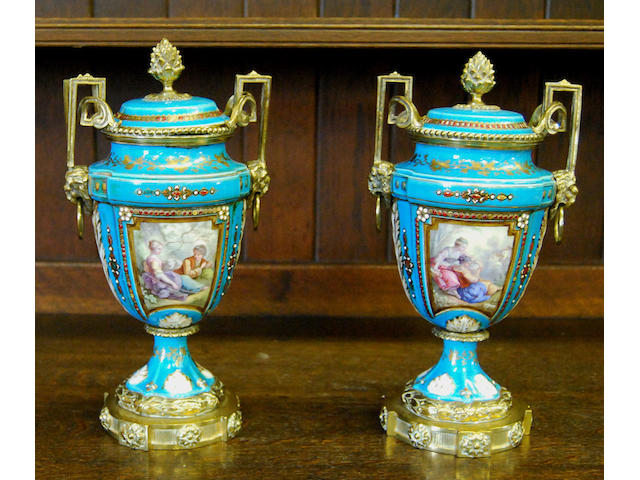 A pair of Sevres vases and covers