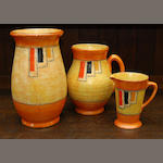 Three Crown Ducal 'Stitch' pattern jugs