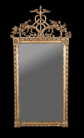 A late 19th century carved giltwood mirror