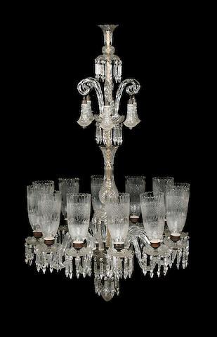 A large Osler style cut glass twelve light chandelier