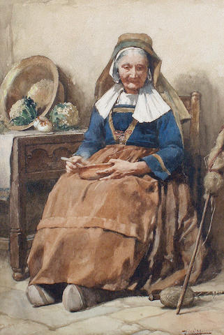 Walter Langley, R.I. (British, 1852-1922) 'An Old Breton Woman'
