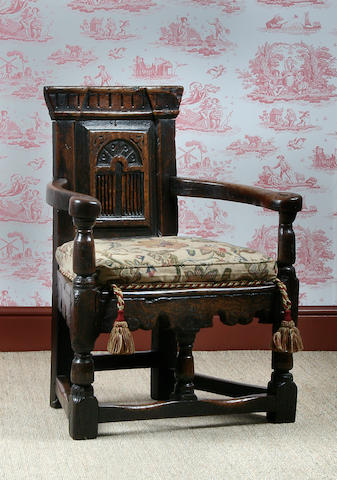 A child's oak chair, incorporating some 17th Century timbers