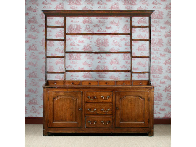 A late 18th Centutry oak high dresser