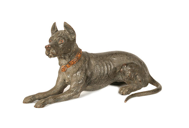 Franz Bergman (Austrian, 1861-1936): A cold painted bronze model of a dog
