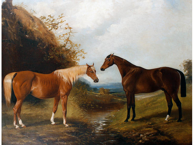 Henry Barraud (British, 1811-1874) A Bay and Chestnut horse in a landscape
