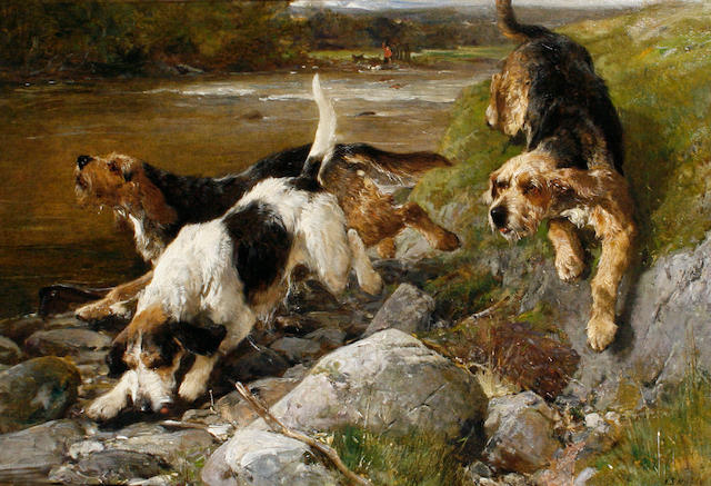 John Sargent Noble, RBA (British, 1848-1896) Otter Hounds