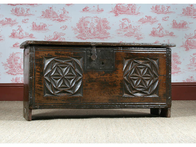 A mid 16th Century small six plank coffer