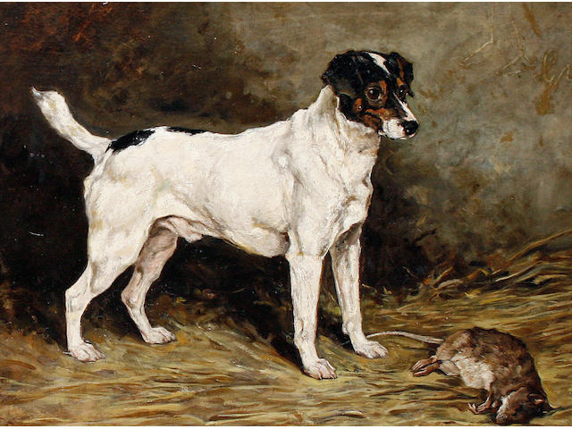 John Emms (British, 1843-1912) A Jack Russell Terrier in a barn