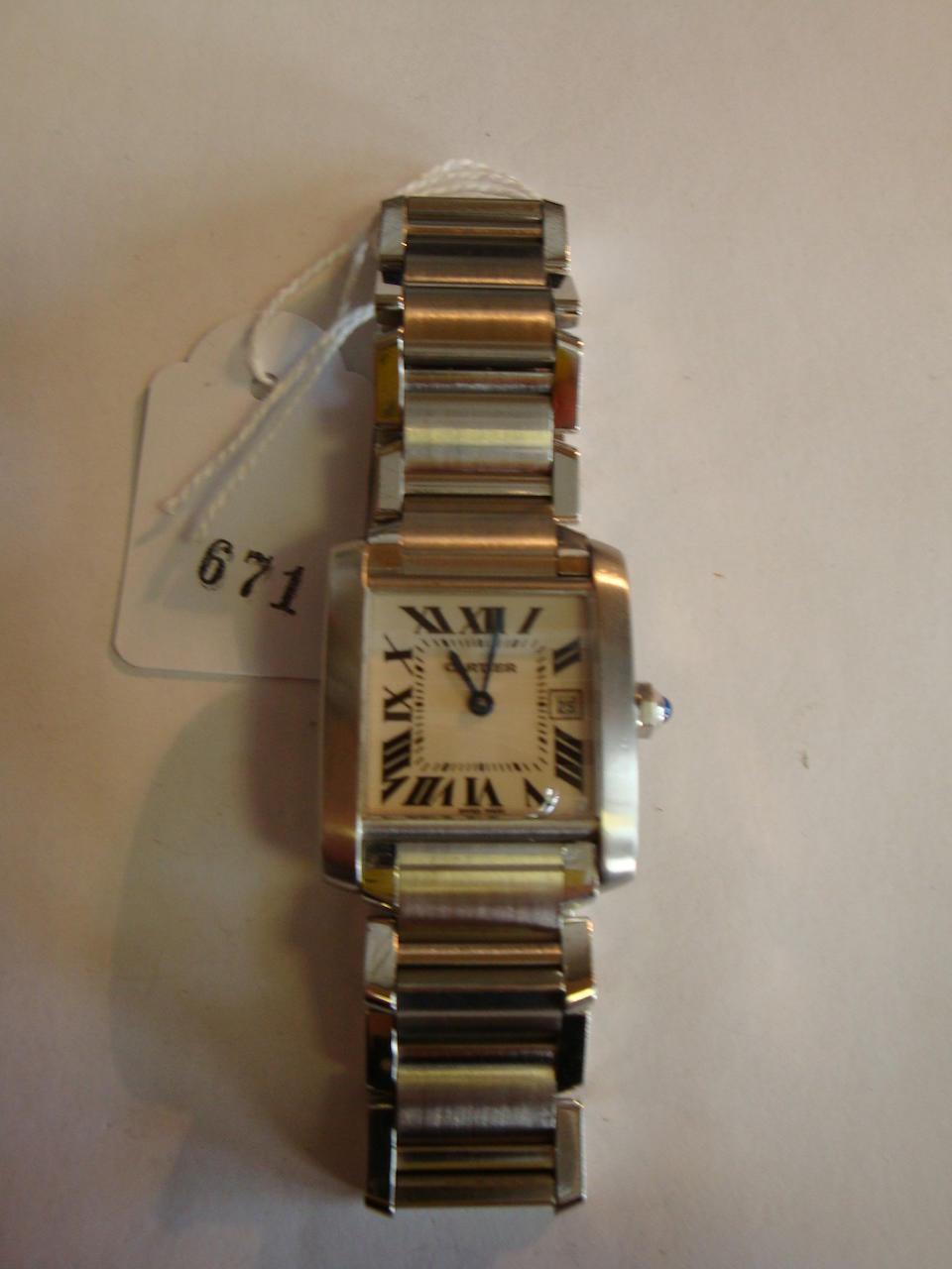 Cartier. A stainless steel wristwatchTank Francaise