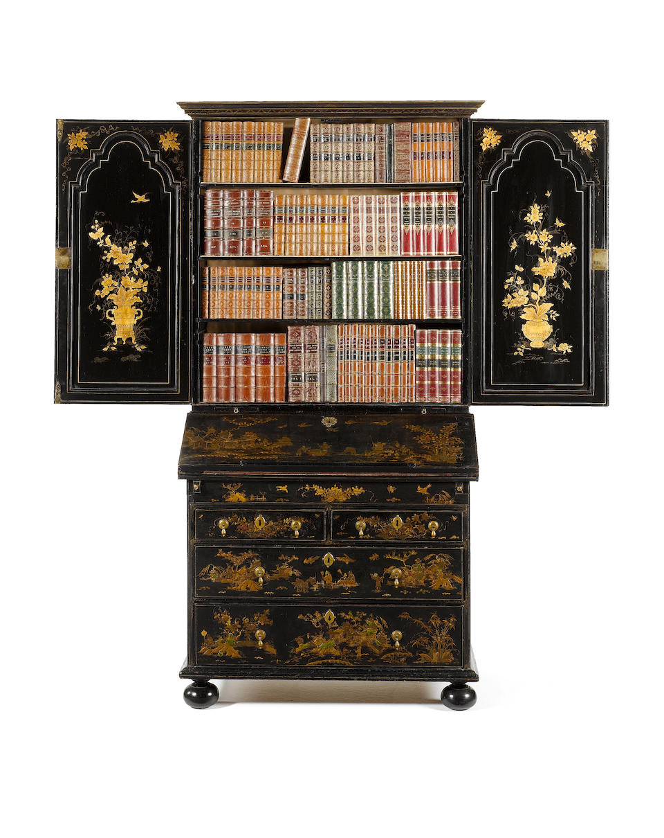 A William & Mary black japanned Bureau Cabinet