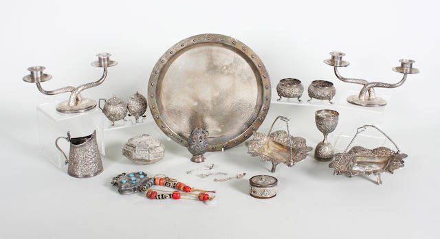 An Indian metalware dish Stamped 'Silver, A & C Depot, Lahore',  (15)