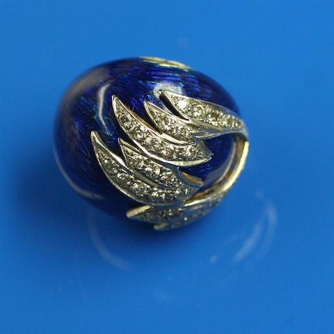 A blue enamel and diamond bombé ring