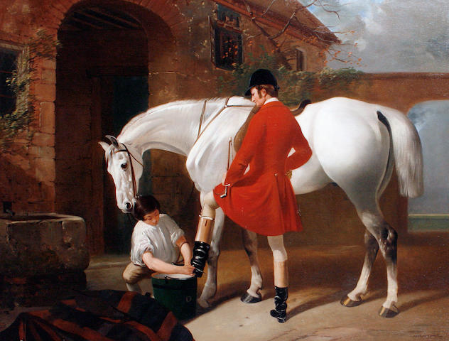 Henry Barraud (British, 1811-1874) Preparing for the hunt