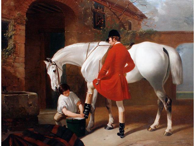 Henry Barraud (British, 1811-1874) Preparing for the hunt
