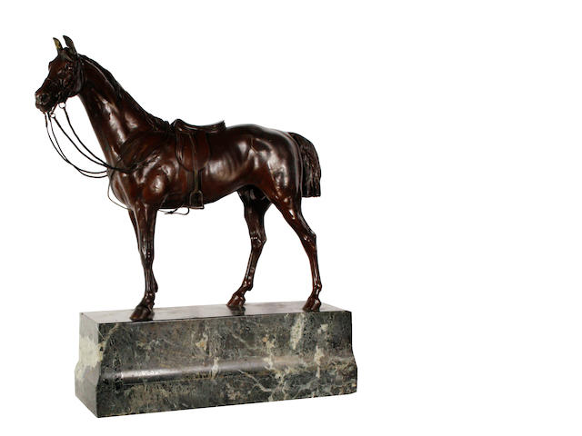 Franz Bergman (Austrian 1861-1936): A cold painted bronze model of a thoroughbred stallion
