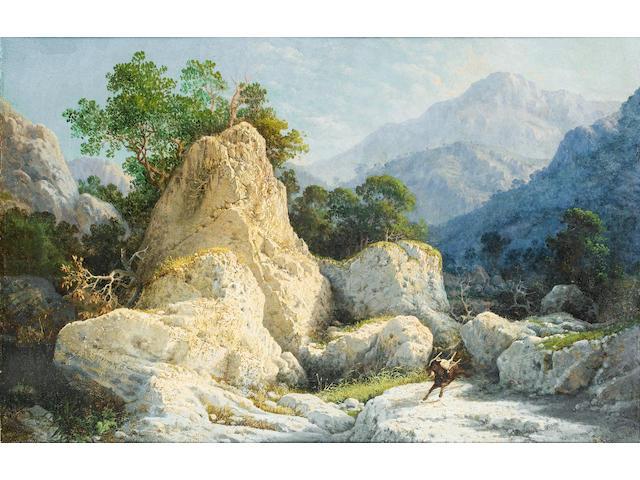 Girolamo Gianni (Italian, 1837-1895) Wolf and goat in landscape