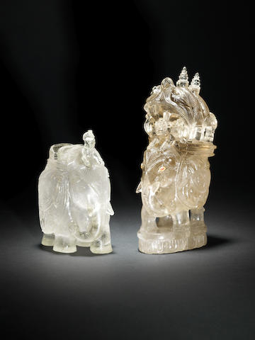 2Two rock crystal Figurines of Elephants Northern India, circa 1900(2)