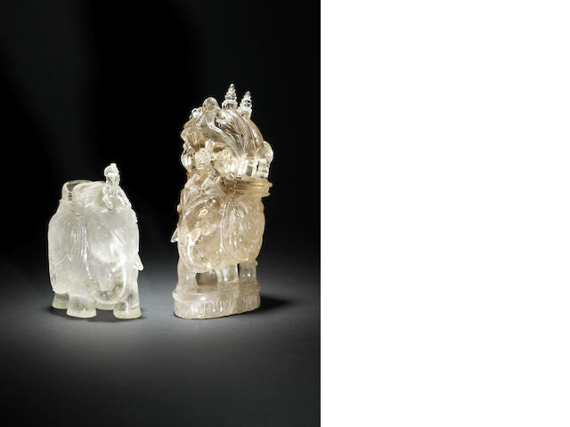 Two rock crystal elephants late 19th C(2)
