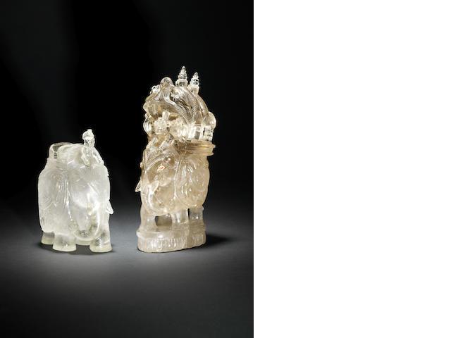 Two rock crystal elephants late 19th C(2)