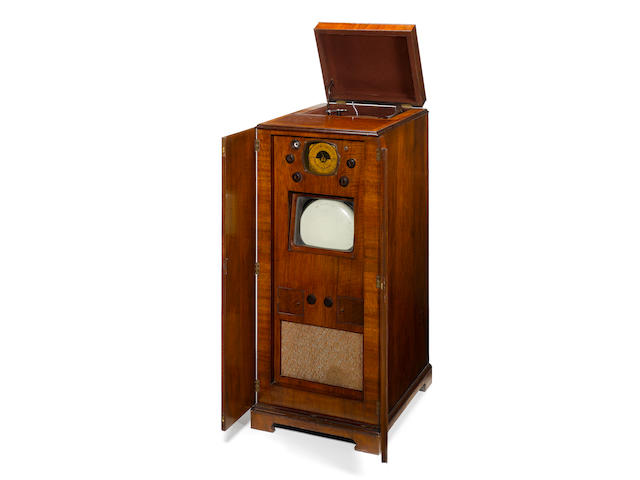 A unique television, wireless and record-player consolette, Probably RGD, circa 1936, horizontal tel