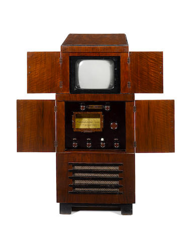 A Cossor television and wireless consolette, type 137T, 1936, the world's first high-definition elec