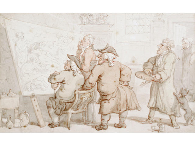 Thomas Rowlandson (British, 1756-1827) The connoisseurs' observation