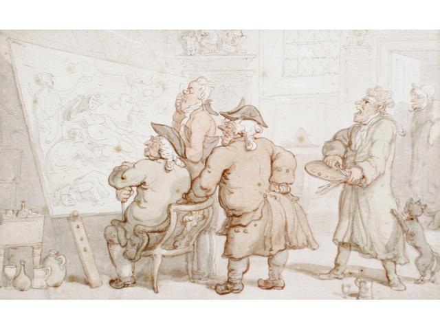 Thomas Rowlandson (British, 1756-1827) The connoisseurs' observation