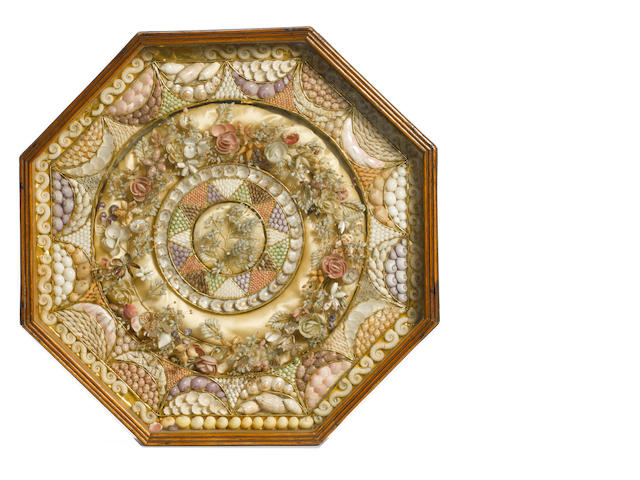 A large 19th Century sailor's shell valentine. 15.7x15.7x3in(40x40x7.5cm)