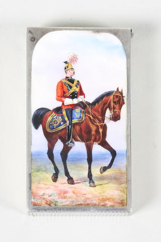Regimental interest- a late Victorian silver and enamel vesta case By Sampson Mordan, London, 1889, with retailer's mark for 'Thornhill, 144 New Bond St, W.',