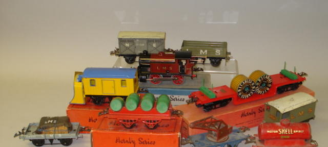 Hornby Series locomotive, rolling stock and track side accessories lot