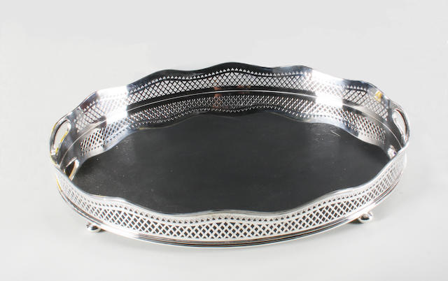 An Edwardian silver twin handled gallery tray By H. Atkin, Sheffield, 1907,