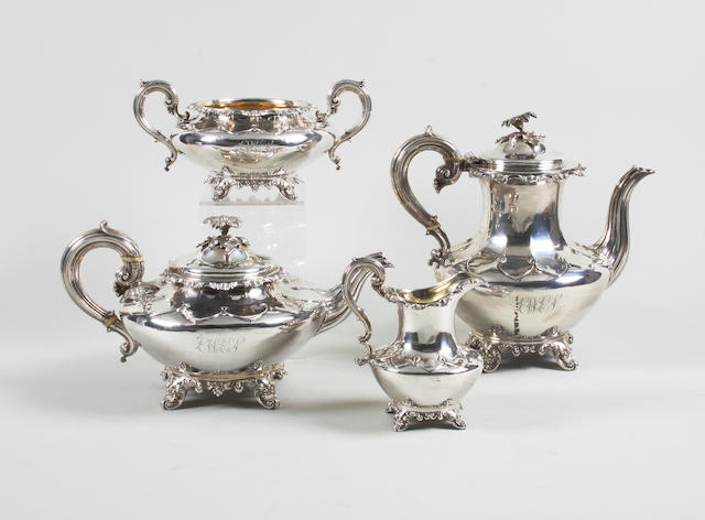 A William IV silver four piece tea and coffee service By Messrs. Barnard, London, 1832-36,  (4)