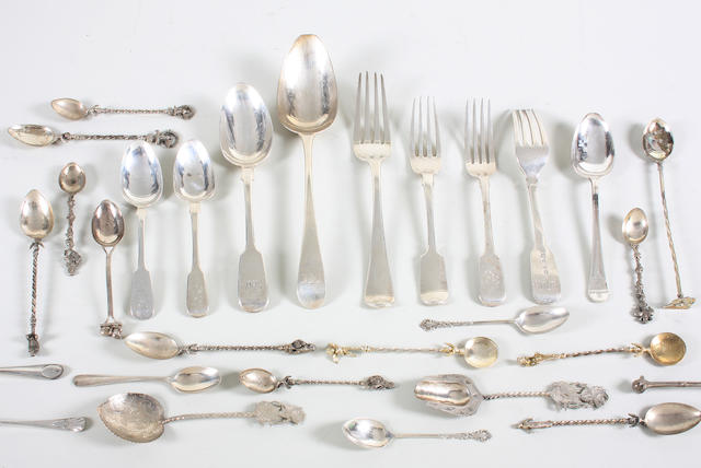 A collection of mainly 19th and 20th century silver forks and spoons Various dates and makers,  (qty)