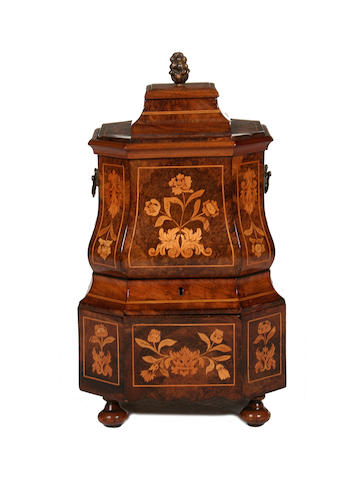 A late 19th century Dutch walnut and fruitwood marquetry tea chest