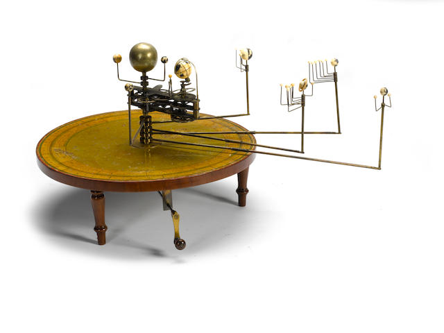 A Henry Negretti table planetarium or orrery,  English,  1839-1848,