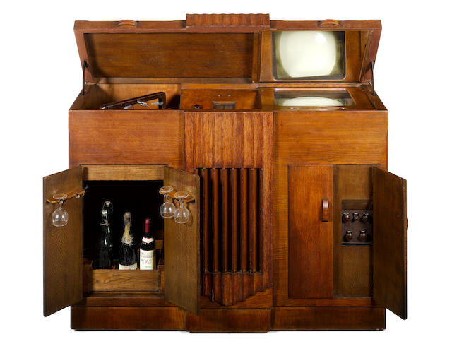 A very important Baird mirror-lid television, wireless, record-player and cellarette grand cabinet c