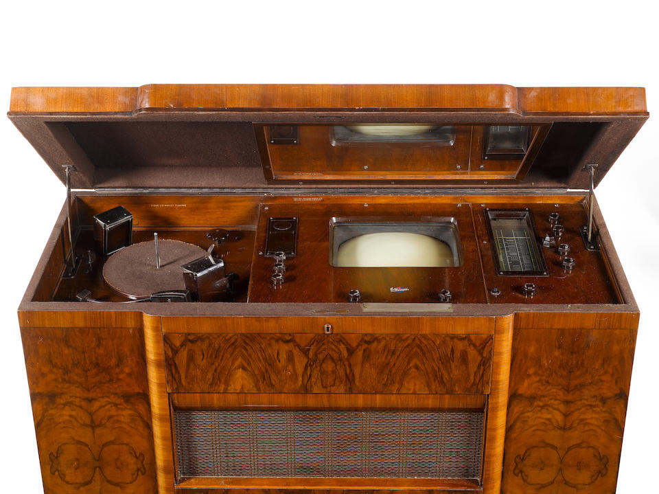 A Marconi Mastergram mirror-lid television, wireless and record-player console, type 703, 1937,