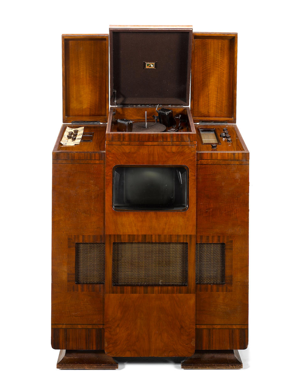 A HMV television, wireless and autochange record-player grand cabinet console, type 902, 1937,